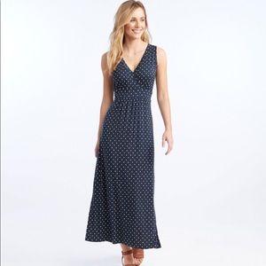 L.L. Bean Polka Dot Knit Maxi Dress Size S